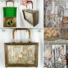 New listing Vintage Anton Pieck 3-D Shadow Box Bakelite ? Lucite ? Handle Market Wood Purse