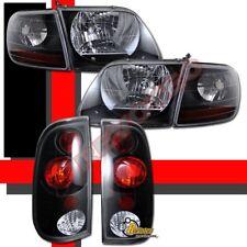 97-03 Ford F150 F-150 Pickup SVT Style Headlights Corner + Tail Lights Black