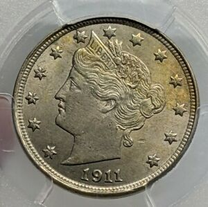 1911 Liberty V Nickel. PCGS MS64 Toned. High Quality Example.