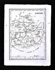 1833 Perrot Tardieu Map - Sarthe - Le Mans Fleche Mamers St. Calais - France