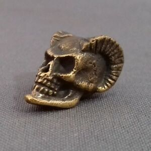 Horned Skull COLLECTIBLE BRONZE BEAD PARACORD BRACELET KNIFE LANYARD BEAD