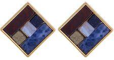 Lulu Frost Gold Tone Petra Stud Multi Color Stone Earrings NEW IN POUCH