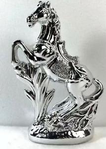 ITALIAN SILVER HORSE ROMANY BLING ORNAMENT CERAMIC CRUSH DIAMOND DECOR GIFT✨