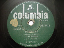 CLIFF RICHARD AND THE SHADOWS  I wonder/lucky lips RARE 78 RPM INDIA INDIAN POOR