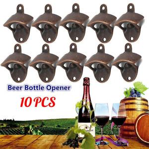 10pcs Bronze Wall Mounted Opener Wine for Beer Soda Glass Cap  Bottle  Opener