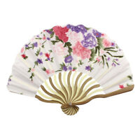 W6J2 Bamboo Flower Printed Japanese Style Foldable Hand Held Fan Gift Decor BT Y