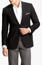 Canali Classic Fit 100% Wool Solid Black Travel Water Resistant Jacket 44L T13