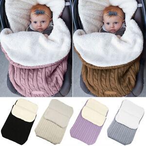Baby Hooded Swaddle Knitted Wrap Blanket Pram Pushchair Stroller Sleeping Bag