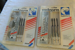 Vintage Unicorn Tungsten English Darts~Set of 6~New IN Packages~XL Shaft