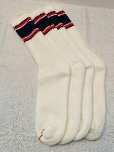 Vtg Tube Socks 2 Pr Tall Thick Cushion Over Calf Stripe Navy Blue Red Skate 80s