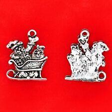 8 x Tibetan Silver Christmas Santa & Sleigh Gifts Presents Charms Pendants Beads