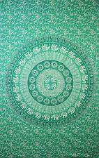 Tapestry Wall Hanging elephant indian mandala green  100% fair trade