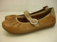 Women's 7 M Born Curlew Tan Leather Mary Jane Comfort Shoes Buckle Strap Flats