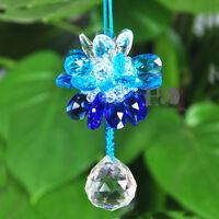 Blue Crystal Suncatcher Prisms Pendant Feng Shui Hanging Drop Wedding Decor Gift