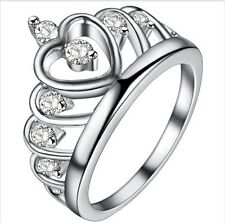 925 Sterling Silver Filled Crown Ring Size 8 Band Cubic Zirconia Jewelry Gift