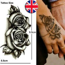 Temporary Tattoo Black Double Rose Fake Body Art Sticker Waterproof Ladies Mens