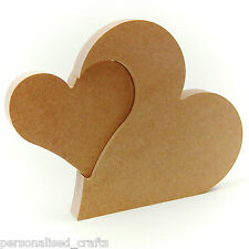 Free Standing 18mm Thick MDF Heart in Heart 150mm x 200mm Interlocking hearts