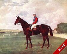 1900'S VINTAGE HORSE JOCKEY AT RACE TRACK RACING ART PAINTING REAL CANVAS PRINT