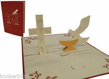 POP UP Karte 3D Klappkarte Einladung Kommunion *Konfirmation* Taube & Kreuz Rot