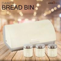 Kitchen Roller Food Bread Bin & Tea Coffee Sugar Canister Jar Tin Storage Cream