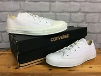CONVERSE LADIES ALL STAR LEATHER LOW WHITE TRAINERS VARIOUS SIZES CASUAL