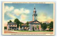 Postcard Historic Old Catholic Cathedral, Library & Rectory, Vincennes, IN F41