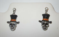 Skull Earrings Pierced Crystal Accents Top Hat Silver Tone New Black Skeleton