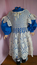 "DRESS AND CROCHET PINAFORE FOR GERMAN ANTIQUE DOLL 32"" OR 33"" DOLL"