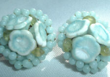 Vintage Goldtone Light Blue Seed Bead Flower Cluster Clip Earrings In Gift Box