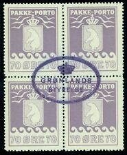 Greenland #Q10 70ore Pakke Porto, violet shade, Block of 4 used Gronlund cert