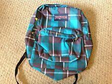 Jansport Superbreak Backpack, New with Tags, Turquoise, Black and White Plaid