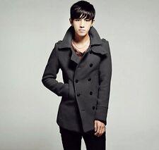 US Seller Korean Style Mens Peacoat Trench Coat Double Breasted Jacket PK48