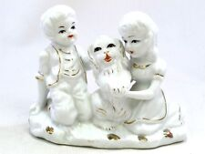 Reproduction Staffordshire Style Figurine Study of Boy & Girl with Dog Puppy