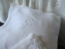 BeautifulVintage French Pillow Shams PAIR, Monogram, Lace trim