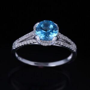 Diamond Setting Genuine Blue Topaz Engagement Wedding 925 Sterliing Silver Ring
