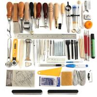 Set DIY Leather Craft Tools Kit Stitching Carving Working Sewing Saddle Groover