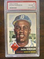 1953 Topps JACKIE ROBINSON #1  PSA 6 EX-MT (OC), Dodgers,  Beautiful Card!