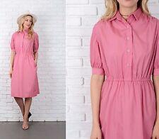 Vintage 70s 80s Pink Shirt Dress Pinstripe Striped Midi A Line Medium M