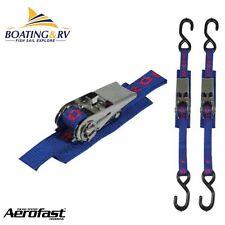 2x Heavy Duty Aerofast Gunwale Stainless Ratchet Strap 25mm x 1.5m - S-Hook