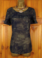 NEW EXCHAINSTORE LADIES NAVY BLUE GREY FLORAL PRINT SUMMER TUNIC TOP SIZE 10-24