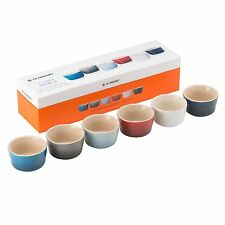 Le Creuset Stoneware Mini Ramekins Set Of 6 Coastal Rainbow - Gift Box