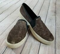 VINCE Brown Pony Hair Round Toe Slip On Loafers Shoes Size US 8.5 / EU 39.5