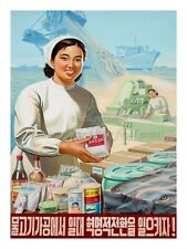"North KOREA Propaganda Poster Print FOOD - FISHING INDUSTRY 18x24"" #NK032"