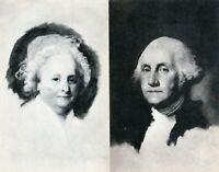 2 Vintage Postcards Portrait of Martha & George Washington by Gilbert Stuart