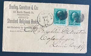 1875 Philadelphia PA USA Commercial Cover To Copenhagen Denmark