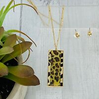 Voila Womens Leopard Goldtone Bar Pendant Necklace and Earring Set Gold NWT