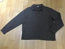 MENS TU MINK BROWN RIBBED LONG SLEEVE POLO / RUGBY STYLE TOP SIZE M
