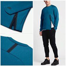 Nike Tech Fleece Crew Uomo Felpa (INDUSTRIALE Blu/Nero Piccolo