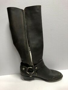 Frye Carson Harness Tall Leather Boot Black Size 8 M Womens