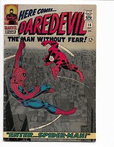 DAREDEVIL 16 - VG+ 4.5 - 1ST JOHN ROMITA SPIDER-MAN ART (1966)